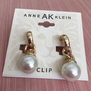 Anne Klein Gold and Pearl Clip on Dangle Earrings